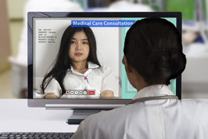Female patient takeing distance medical consultation to doctor by live video call.