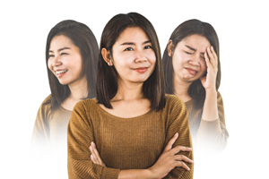 bipolar disorder Asian woman face happy smiling and depressed sad moods on white background