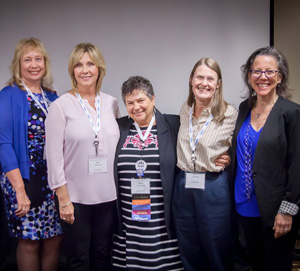 The Volunteer Leadership Award winners during the 2017 annual conference, CHADD President Pat Hudak of CHADD of Northern Virginia and DC, Kelly Montes, Sharyn Rhodes, Sharon Bell, and Public Policy Committee member Elaine Taylor-Klaus.